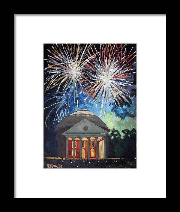 Rotunda. University. Virginia. Charlottesville. Fireworks. Framed Print featuring the painting Fireworks Over The Rotunda by Robert Holewinski