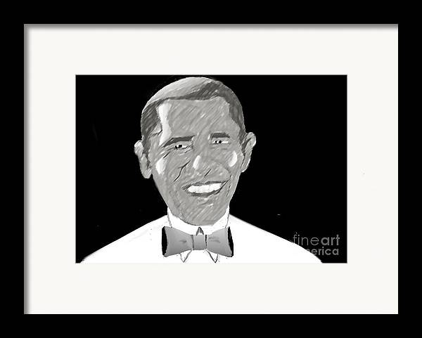 Barack Obama Framed Print featuring the drawing First African American President by Belinda Threeths