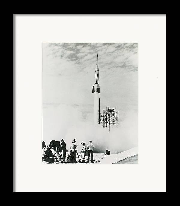 V2 Rocket Framed Print featuring the photograph First Cape Canaveral Rocket Launch by NASA Science Source