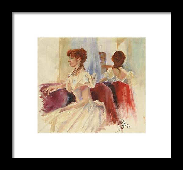Portrait Framed Print featuring the painting First Dance Reflecting by Podi Lawrence