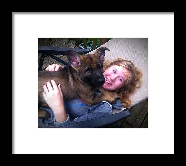 Puppy Framed Print featuring the photograph Puppy's First Day Home by Teresa A Lang