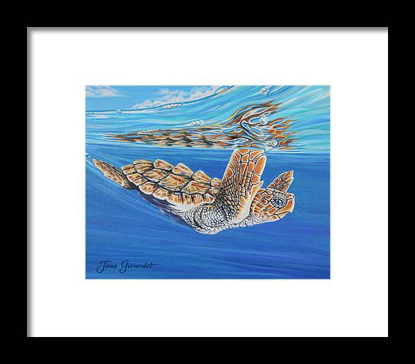 Ocean Framed Print featuring the painting First Dive by Jane Girardot
