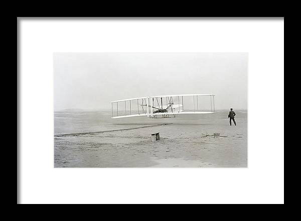 Wright Brothers Framed Print featuring the photograph First Flight Captured On Glass Negative - 1903 by Daniel Hagerman