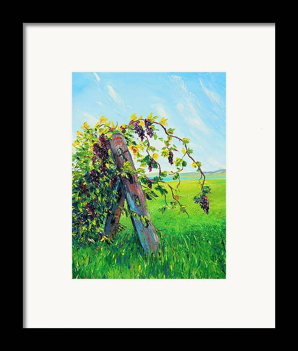 Grapes Framed Print featuring the painting First Fruits by Meaghan Troup