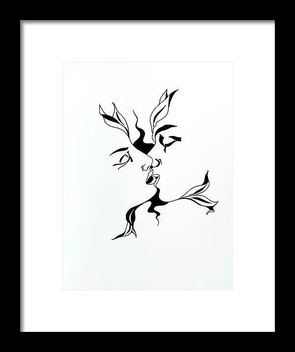 Love Framed Print featuring the drawing First Kiss by Yelena Tylkina