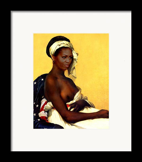 Michelle Obama Framed Print featuring the painting First Lady by Karine Percheron-Daniels