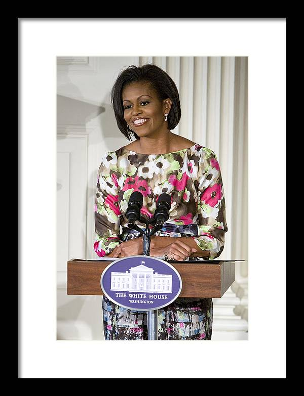 Michelle Obama Framed Print featuring the photograph First Lady Michelle Obama by JP Tripp