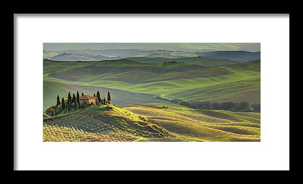 Scenics Framed Print featuring the photograph First Light In Tuscany by Maurice Ford