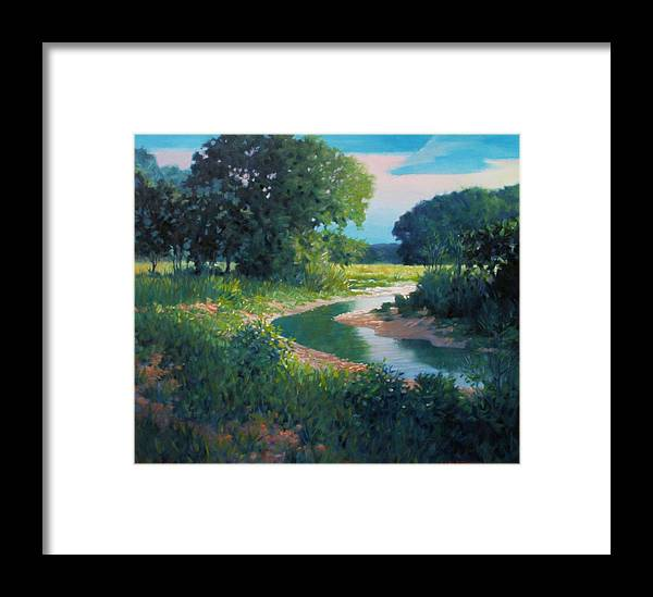 Landscape Framed Print featuring the painting First Light by Kevin Lawrence Leveque
