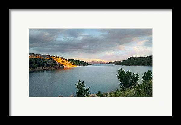 Horsetooth Reservoir Framed Print featuring the photograph First Light by Ric Soulen