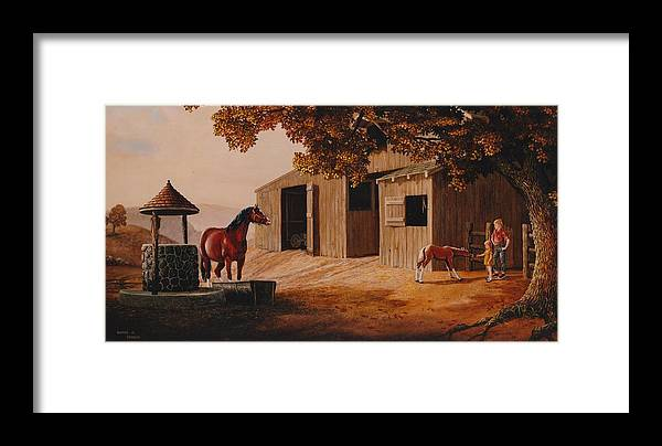 Farm Framed Print featuring the painting First Meeting by Duane R Probus