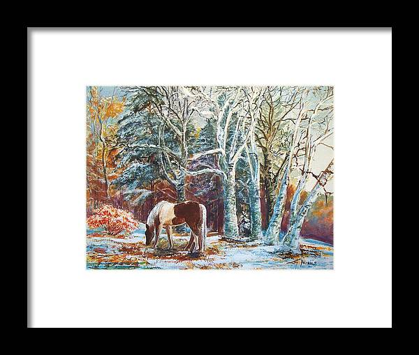 October Framed Print featuring the painting First Snow by Joy Nichols