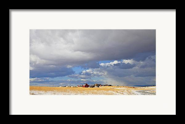 Farm Framed Print featuring the photograph First Snow On Storybook Farm by Theresa Tahara