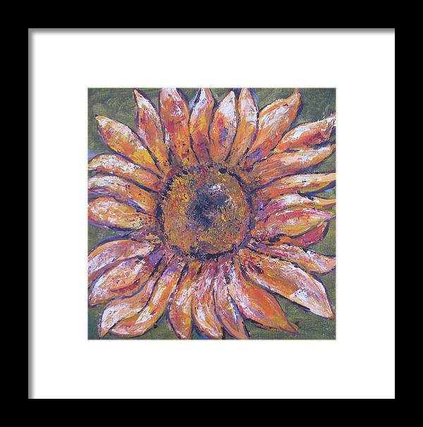 Flower Framed Print featuring the painting First Sunflower by Jenny Frampton