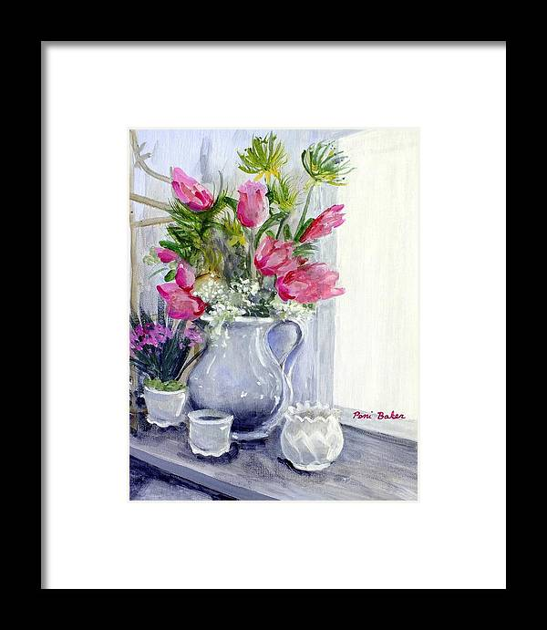 Tulips Framed Print featuring the painting First Three Hour Paint Challenge by Peni Baker