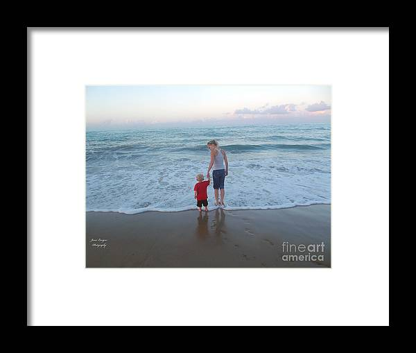 Ocean Framed Print featuring the photograph First Time At The Beach by Jennifer Lavigne