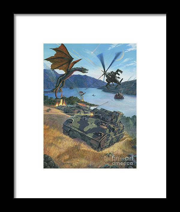 Dragon Framed Print featuring the painting First Wave - Clash at Pyramid Lake by Stu Shepherd