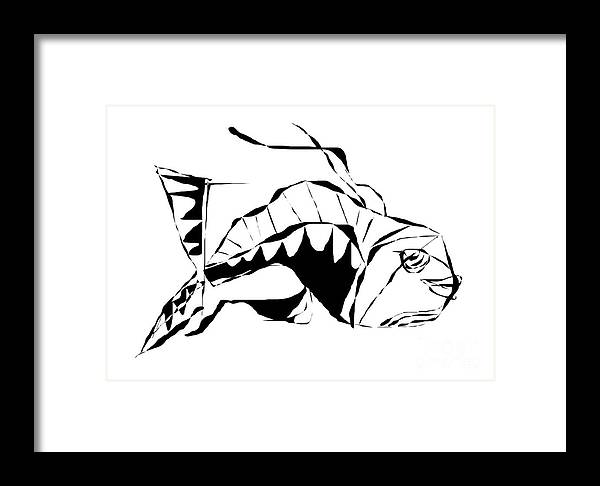 Graphics Framed Print featuring the digital art Fish B-w 098 - Marucii by Marek Lutek
