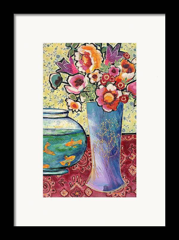 Flowers In A Vase Framed Print featuring the mixed media Fish Bowl And Posies by Diane Fine