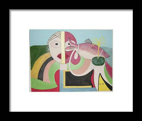 Abstract Fish Framed Print featuring the painting Fish by Catherine Velardo
