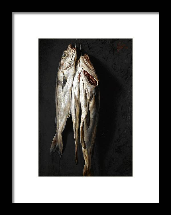 Nikolaos Gyzis Framed Print featuring the painting Fish by Nikolaos Gyzis