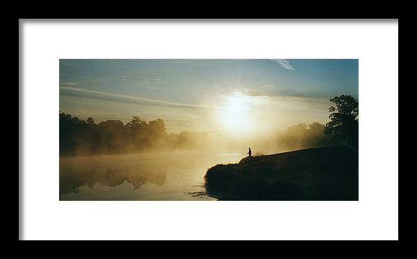 Lake Eureka Framed Print featuring the photograph Fisherman In Mist by Peg Toliver