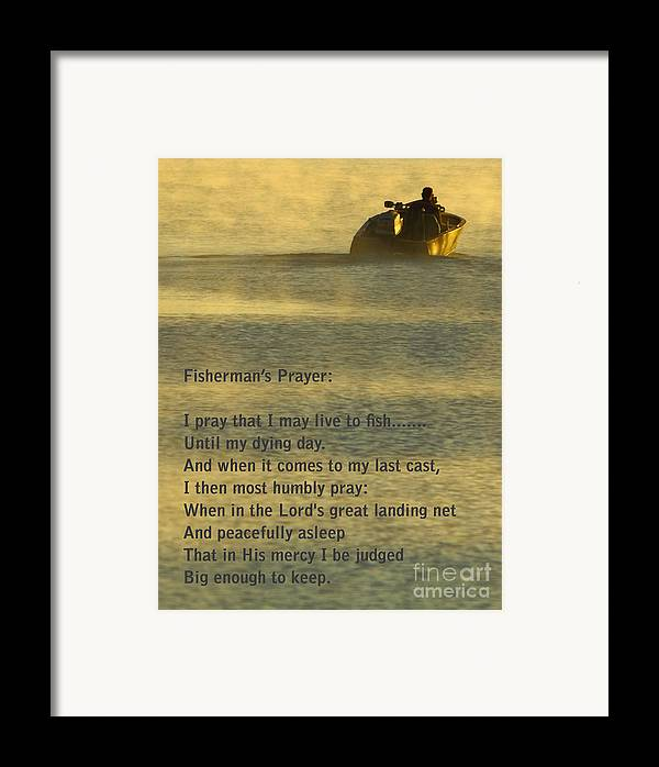 Fishing Framed Print featuring the photograph Fisherman's Prayer by Robert Frederick