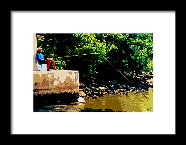 Fishing Framed Print featuring the painting Fishin' Under The Bridge by CHAZ Daugherty