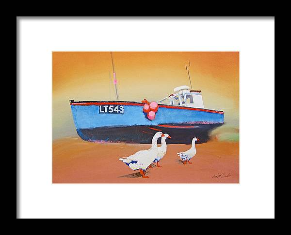 Geese Framed Print featuring the painting Fishing Boat Walberswick With Geese by Charles Stuart