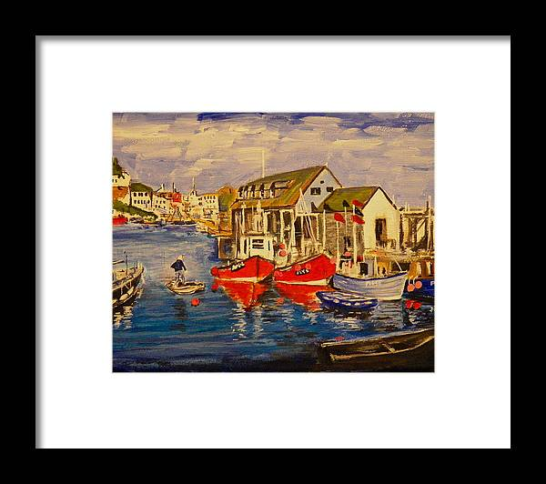 Seascape Framed Print featuring the painting Fishing Boats by Jim Reale