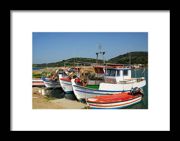 Europe Framed Print featuring the digital art Fishing Boats by Roy Pedersen