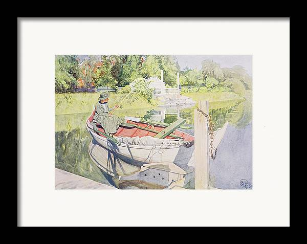 Sunshine Framed Print featuring the painting Fishing by Carl Larsson