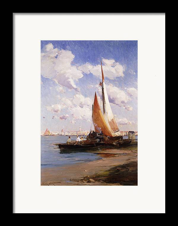 British Framed Print featuring the painting Fishing Craft With The Rivere Degli Schiavoni Venice by E Aubrey Hunt