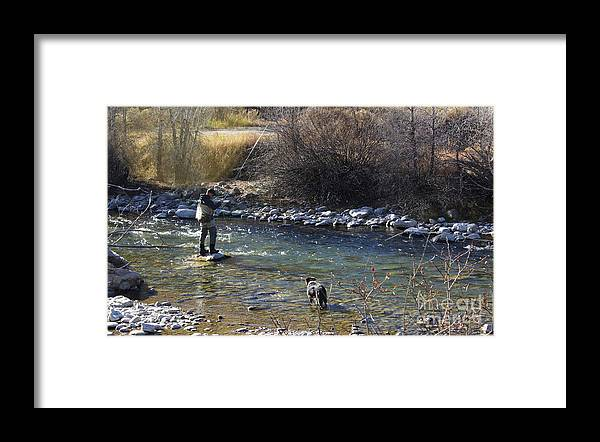 Fisherman Framed Print featuring the photograph Fishing Dog On Point by Steven Parker