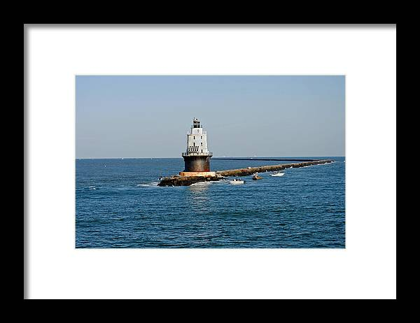 De Framed Print featuring the photograph Fishing The Breakwater by Skip Willits