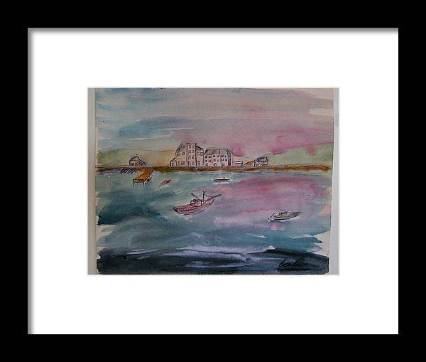 Seaside Framed Print featuring the painting Fishingvillage by James Layton