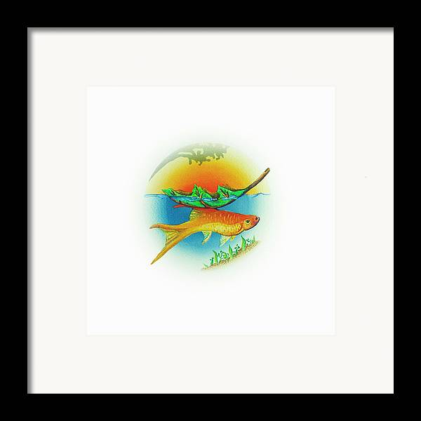 Nature Framed Print featuring the painting Fishsalad 2 by Laura Dozor