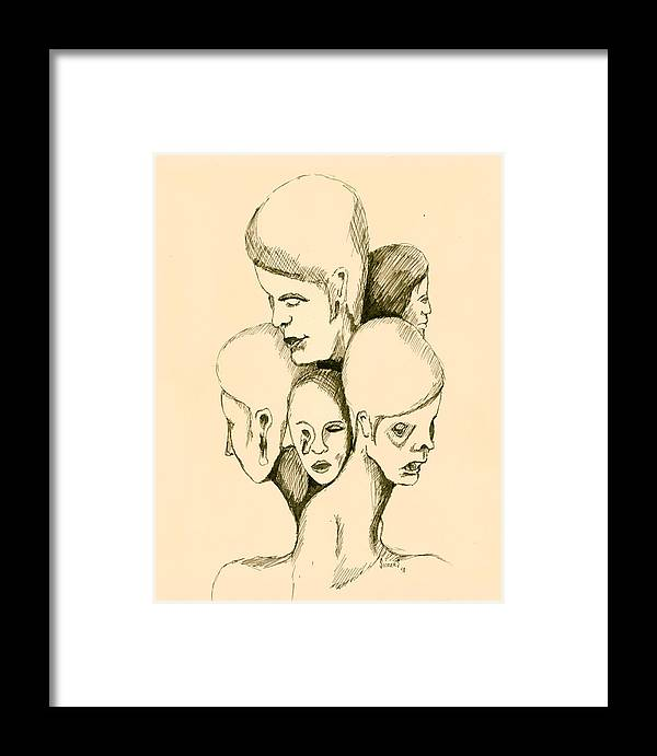 Head Framed Print featuring the drawing Five Headed Figure by Sam Sidders