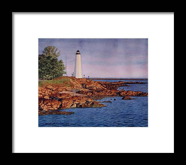 Lighthouse Framed Print featuring the painting Five Mile Point Lighthouse by Sharon Farber