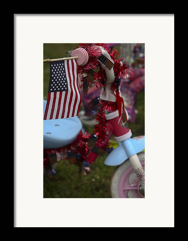 Patriotic Framed Print featuring the photograph Flag Bike by Patrice Zinck