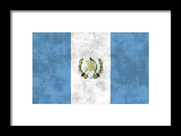 Central America Framed Print featuring the digital art Flag Of Guatamala by World Art Prints And Designs