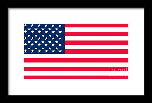 America Framed Print featuring the digital art Flag of the United States of America by Anonymous