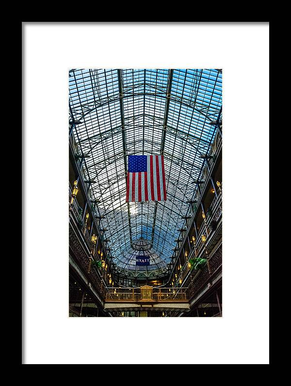 American Flag Framed Print featuring the photograph Flags A Flying by Terry Hickey
