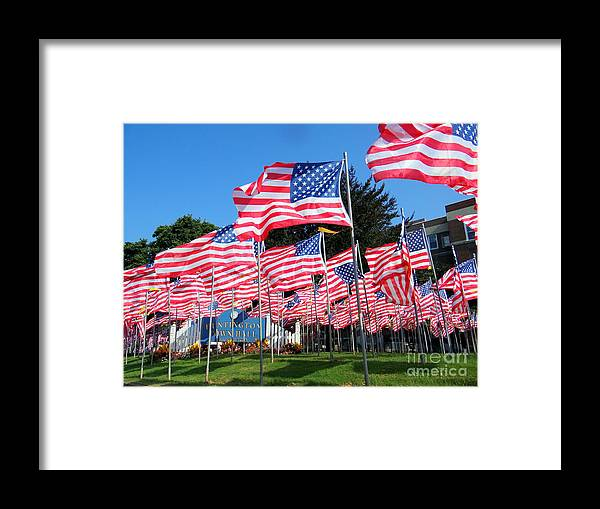 American Flags Framed Print featuring the photograph Flags Of Glory by Ed Weidman