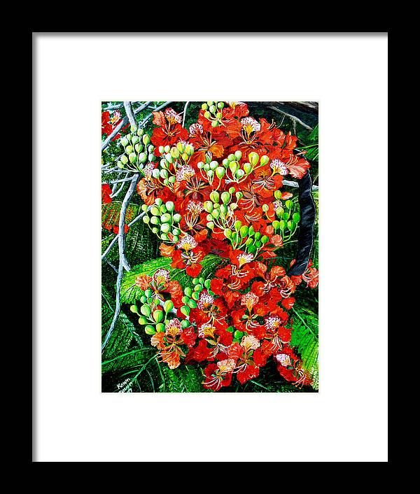 Royal Poincianna Painting Flamboyant Painting Tree Painting Botanical Tree Painting Flower Painting Floral Painting Bloom Flower Red Tree Tropical Paintinggreeting Card Painting Framed Print featuring the painting Flamboyant In Bloom by Karin Dawn Kelshall- Best