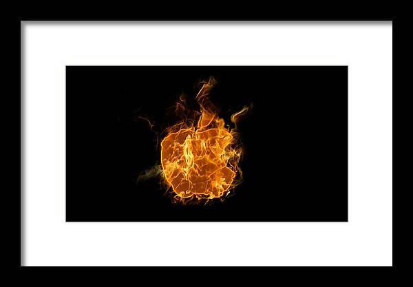 Burn Framed Print featuring the digital art Flame Apple by Roy Lavi