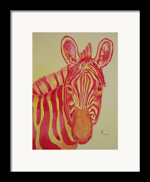 Zebra Framed Print featuring the painting Flame by Rhonda Leonard