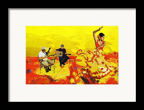 Jazz Framed Print featuring the painting Flamenco Dancer 018 by Catf