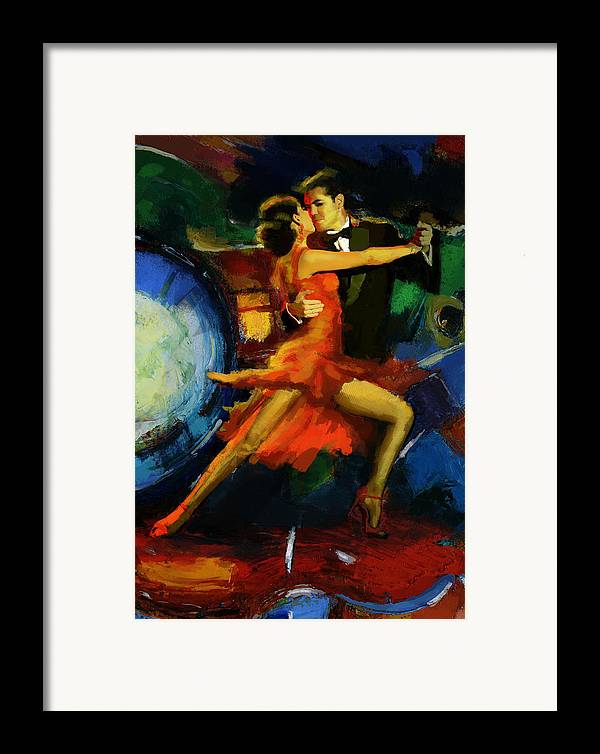 Jazz Framed Print featuring the painting Flamenco Dancer 029 by Catf