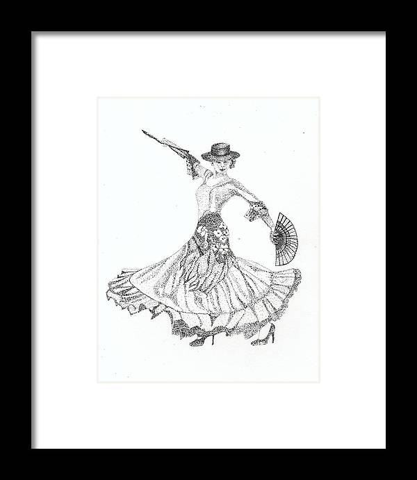 Pen And Ink Framed Print featuring the painting Flamenco Dancer by Elaine F Thompson